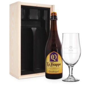 Beer gift set with glass - engraved - La Trappe Quadrupel