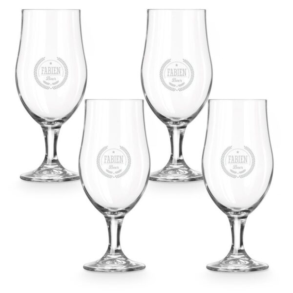 Beer glass on foot - set of 4