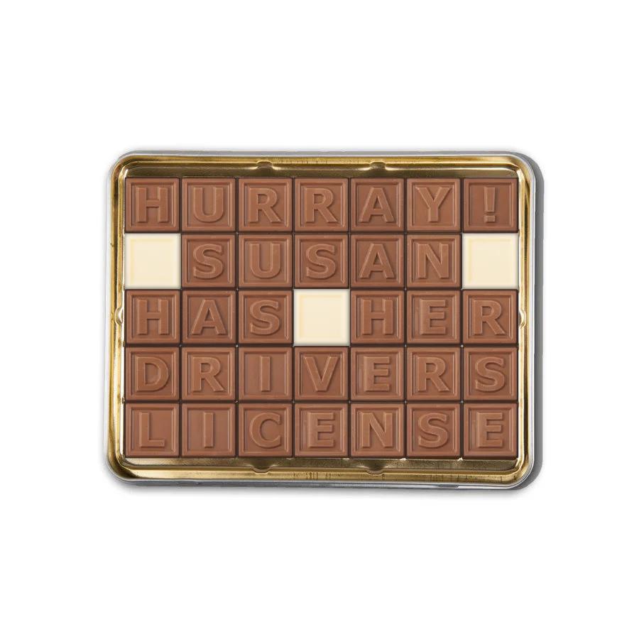 Chocolate telegram in tin - 35 characters
