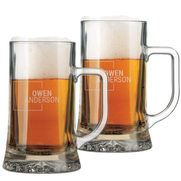 Engraved glass beer mug - set of 2