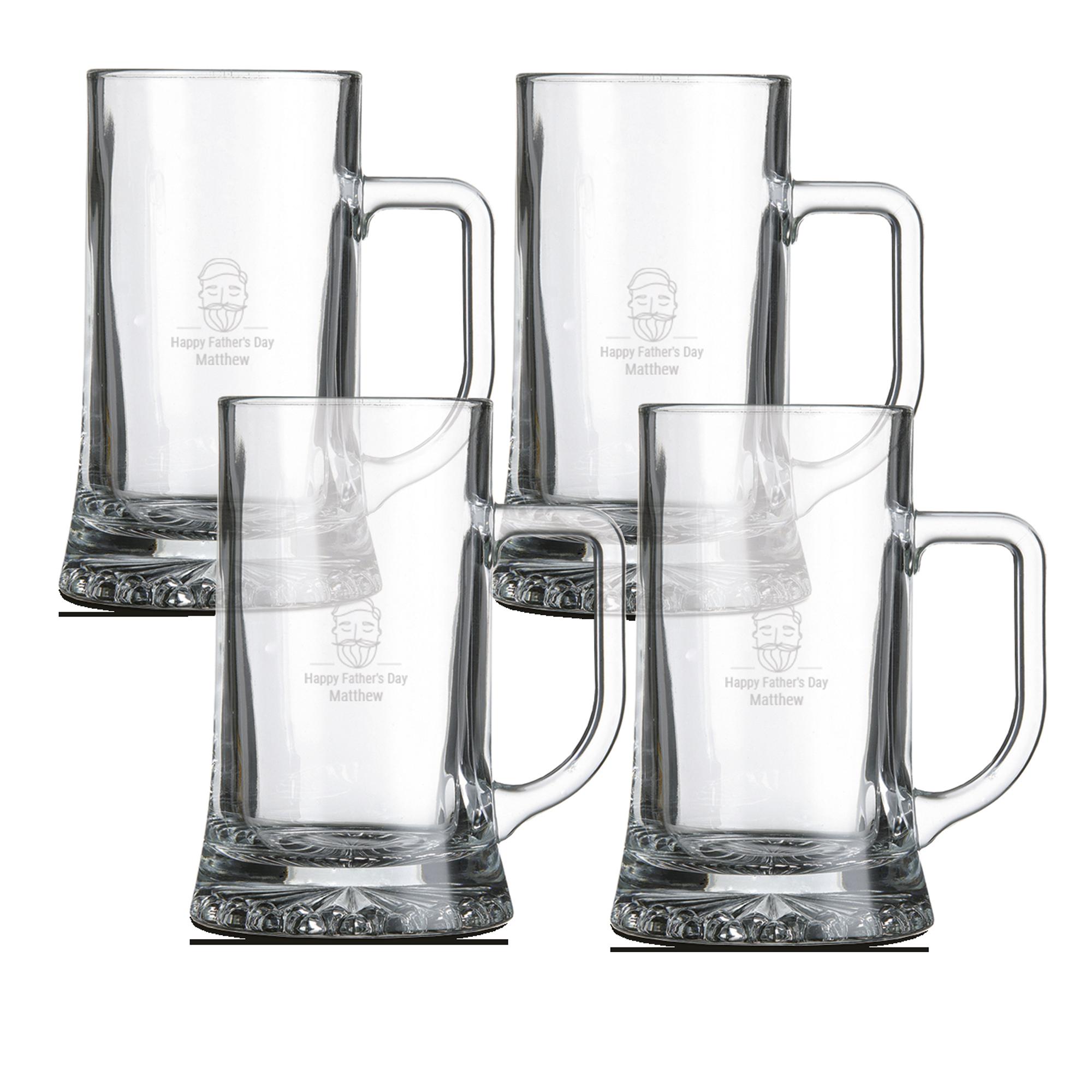 Engraved glass beer mug - set of 4