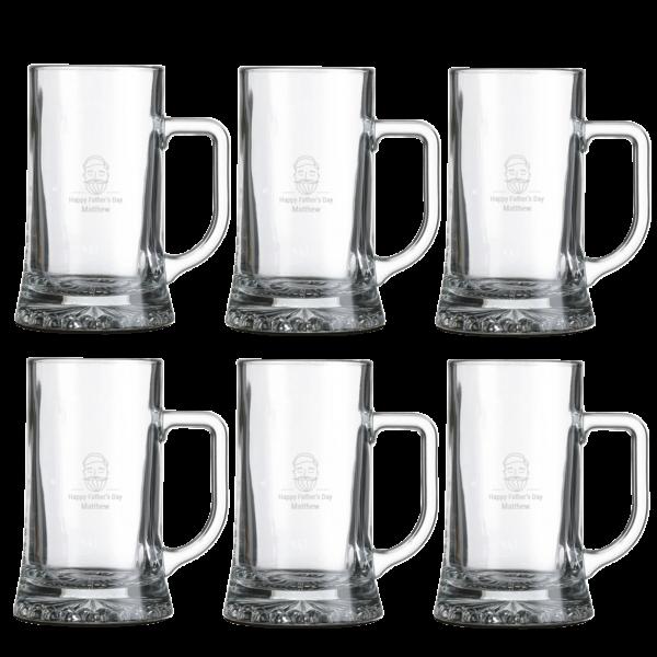 Engraved glass beer mug - set of 6