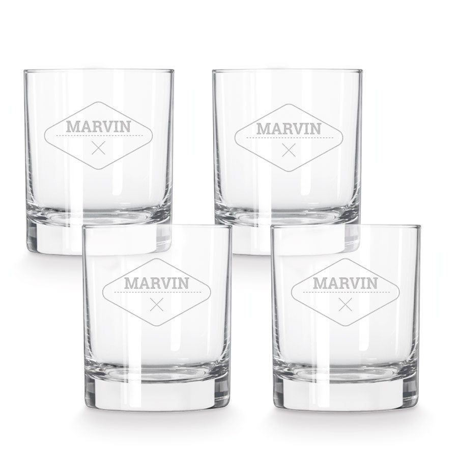 Engraved whiskey glass - 4 pieces