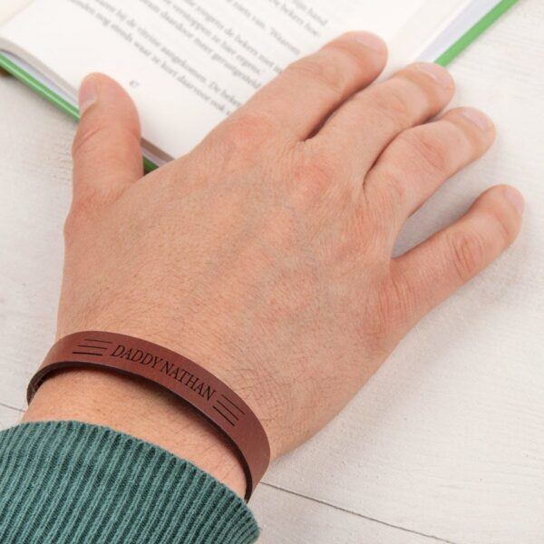 Father's Day leather bracelet - Brown