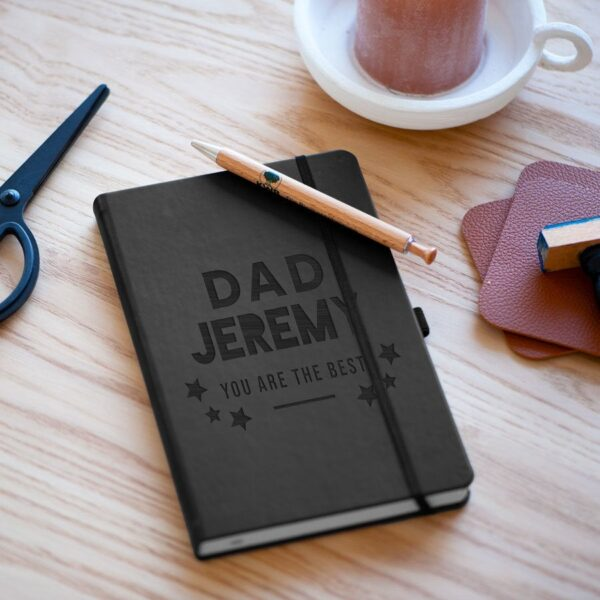 Father's Day notebook - engraved - Black
