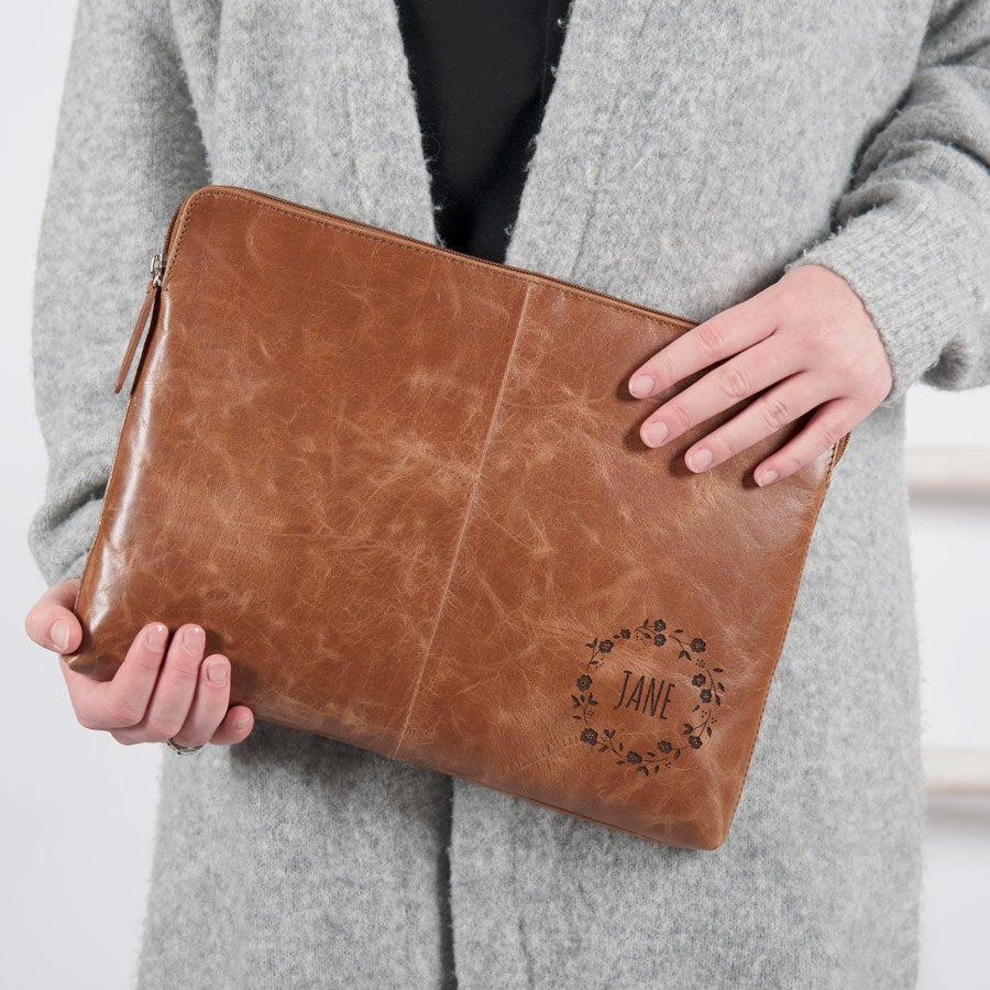 Leather laptop sleeve - Brown - 11 inch