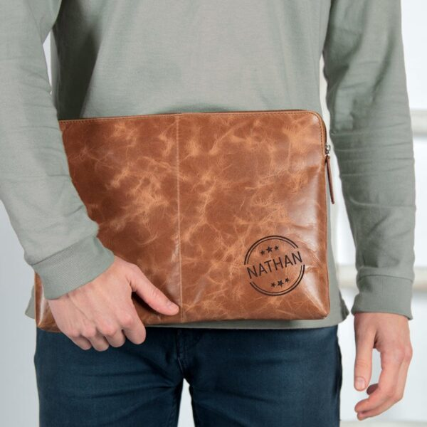 Leather laptop sleeve - Brown - 15 inch