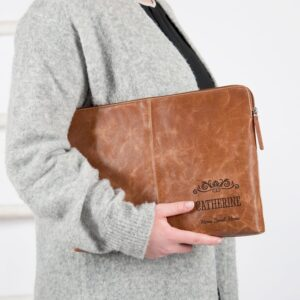 Leather laptop sleeve - Brown - 17 inch