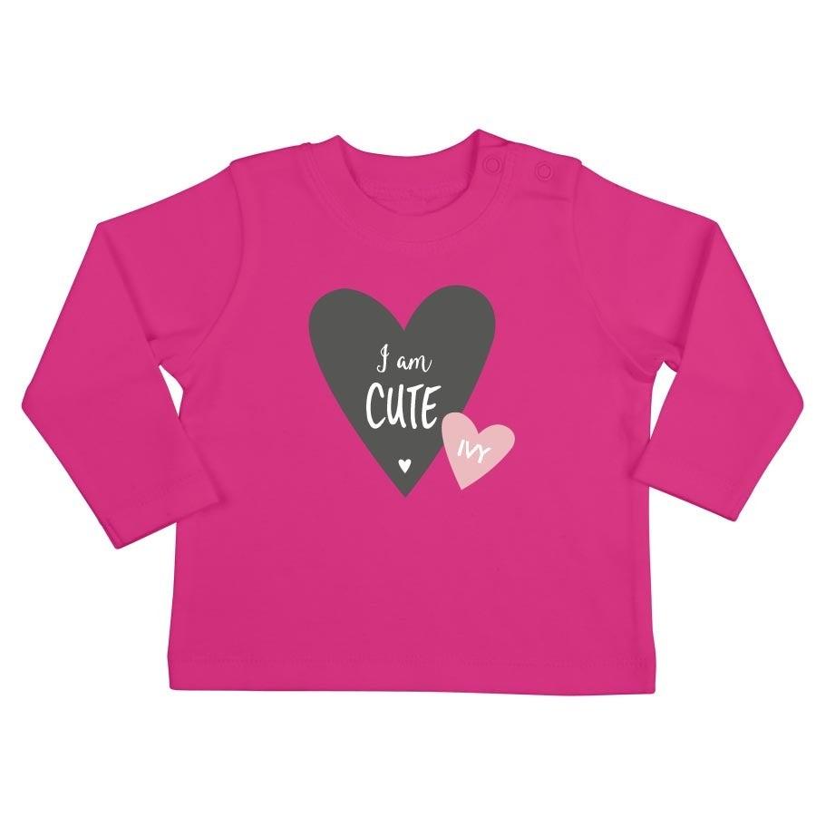 Personalised Baby T-shirt - Long sleeve - Fuchsia - 50/56