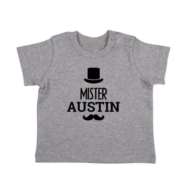 Personalised Baby T-shirt - Short sleeve - Grey - 50/56