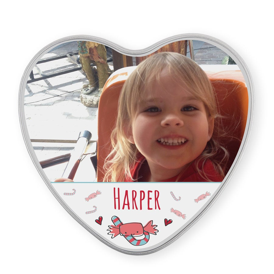 Personalised sweet tin - heart-shaped