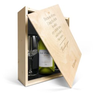 Wine gift set with glass - Luc Pirlet Chardonnay - Engraved lid