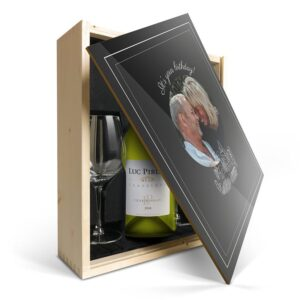 Wine gift set with glass - Luc Pirlet Chardonnay - Printed lid