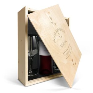 Wine gift set with glass - Luc Pirlet Merlot - Engraved lid