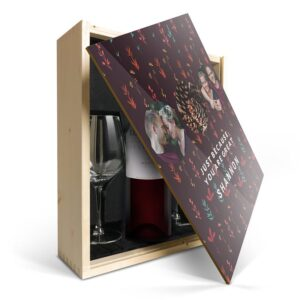 Wine gift set with glass - Luc Pirlet Merlot - Printed lid