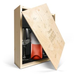 Wine gift set with glass - Luc Pirlet Syrah - Engraved lid