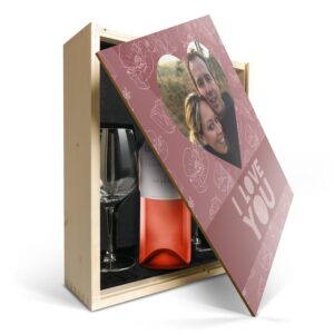 Wine gift set with glass - Luc Pirlet Syrah - Printed lid