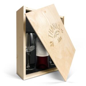 Wine gift set with glass - Salentein Malbec - Engraved lid