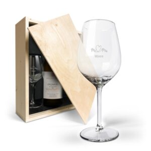 Wine gift set with glass - Salentein Primus Chardonnay - Engraved glass
