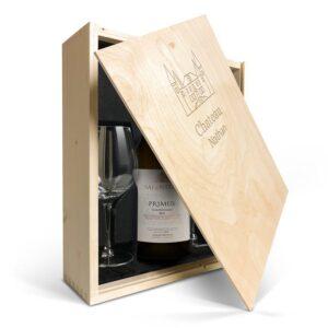 Wine gift set with glass - Salentein Primus Chardonnay - Engraved lid