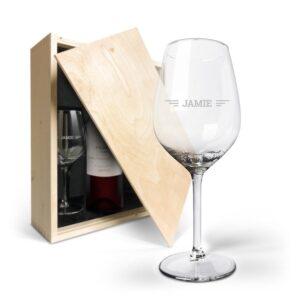 Wine gift set with glass - Salentein Primus Malbec - Engraved glass