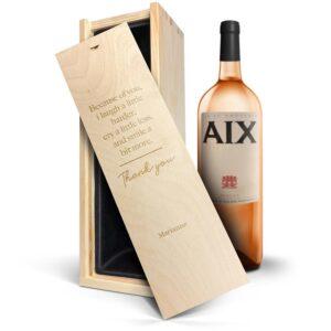 Wine in engraved case - AIX rosé Magnum