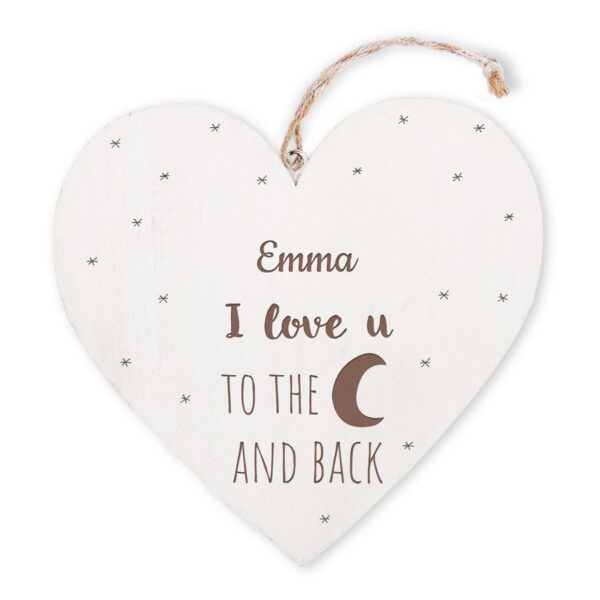 Wooden Valentine heart with text engraving