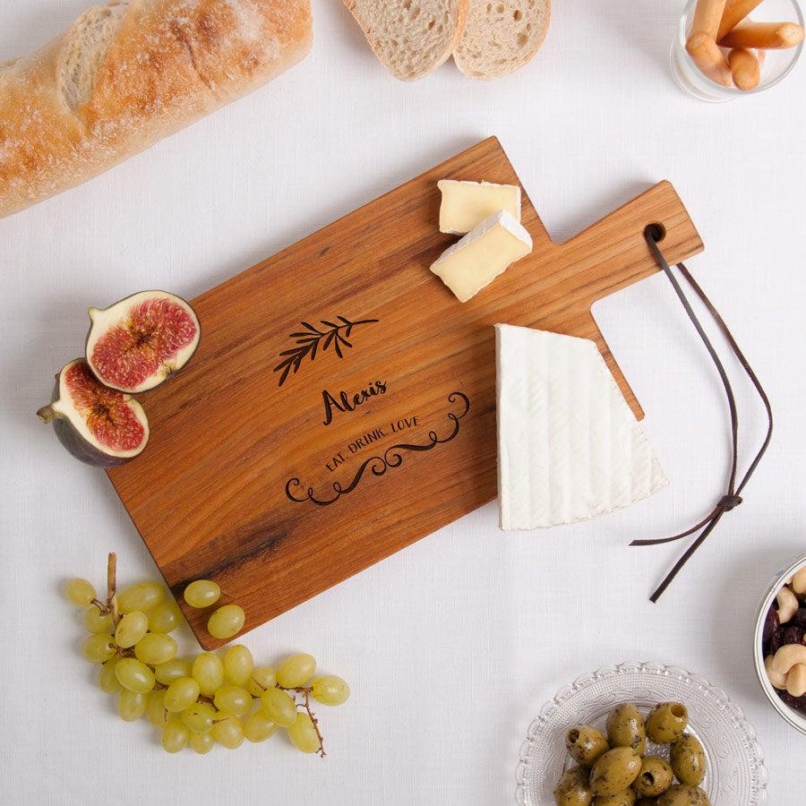 Wooden serving platter - Teak - Rectangle - Landscape (S)
