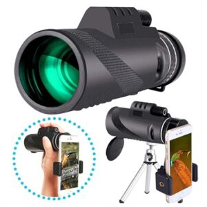 10x HD Lens Portable Monocular with Tripod Stand - Black