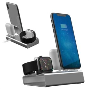 3-in-1 Aluminum Alloy Charging Station - iPhone, Apple Watch, AirPods - Grey