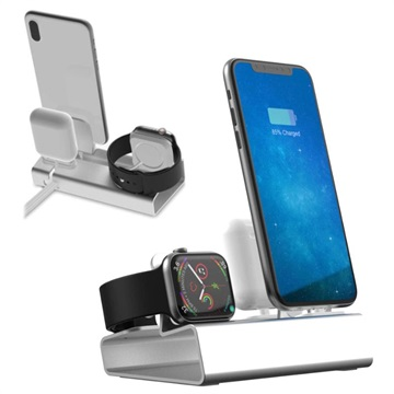 3-in-1 Aluminum Alloy Charging Station - iPhone, Apple Watch, AirPods - Silver