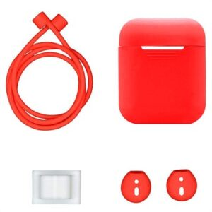 4-in-1 Apple AirPods / AirPods 2 Silicone Accessories Kit - Red