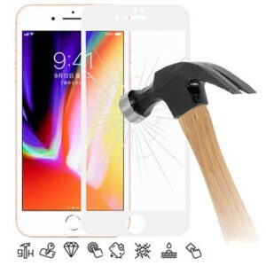 6D Full Size iPhone 7 Plus / 8 Plus Tempered Glass Screen Protector - White