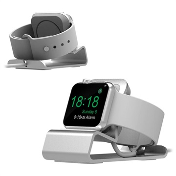 Aluminum Alloy Apple Watch Series SE/6/5/4/3/2/1 Charging Station - Silver
