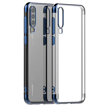 Electroplated Frame Series Huawei P30 TPU Case - Blue / Transparent