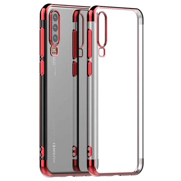 Electroplated Frame Series Huawei P30 TPU Case - Red / Transparent