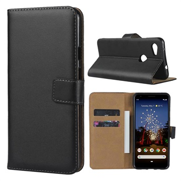 Google Pixel 3a Leather Wallet Case with Stand - Black