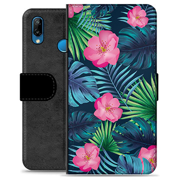 Huawei P20 Lite Premium Wallet Case - Tropical Flower