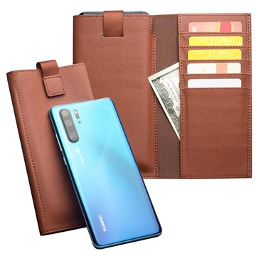 Huawei P30 Pro Qialino Multifunctional Wallet Leather Case - Brown