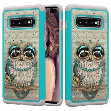 Rhinestone Glam Samsung Galaxy S10+ Hybrid Case - Owl
