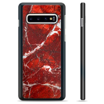 Samsung Galaxy S10 Protective Cover - Red Marble