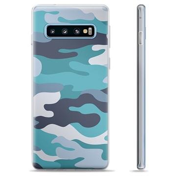 Samsung Galaxy S10+ TPU Case - Blue Camouflage