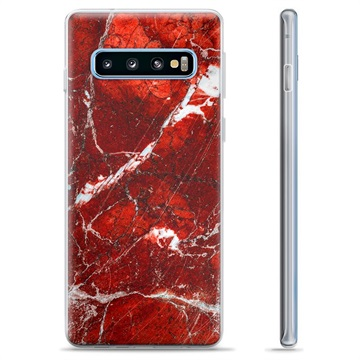 Samsung Galaxy S10+ TPU Case - Red Marble