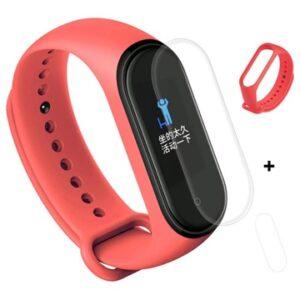 Xiaomi Mi Band 4 Silicone Wristband & TPU Screen Protector - Red