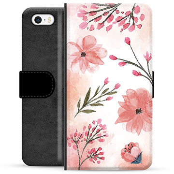 iPhone 5/5S/SE Premium Wallet Case - Pink Flowers