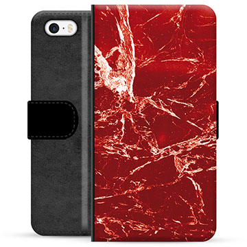 iPhone 5/5S/SE Premium Wallet Case - Red Marble