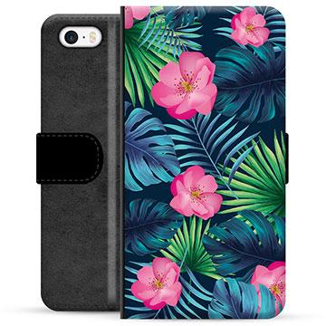 iPhone 5/5S/SE Premium Wallet Case - Tropical Flower