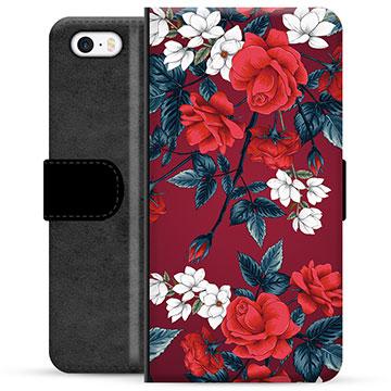 iPhone 5/5S/SE Premium Wallet Case - Vintage Flowers