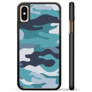 iPhone X / iPhone XS Protective Cover - Blue Camouflage