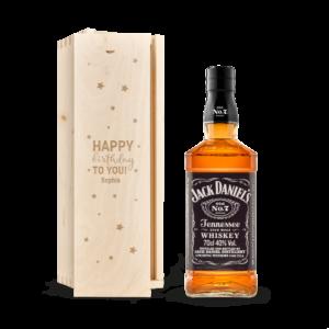 Whisky in engraved case - Jack Daniels